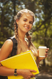 Cute female student with books (education, science, self devel