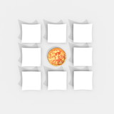 3d illustration rendering of multiple plates square grid with Italian pizza in the center