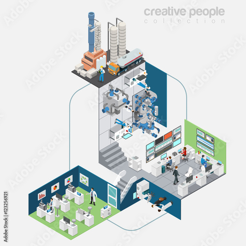 Flat isometric refinery station interior vector illustration