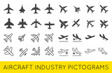 Fototapety Aircraft or Airplane Icons Set Collection Vector Silhouette.Set
