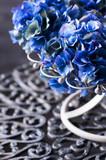 close-up of blue hydrangeas in vase