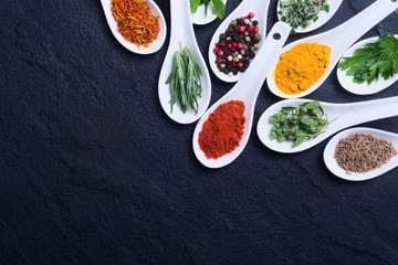 assortment of indian spices and herb
