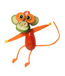 Funny ape made of vegetables on isolated background
