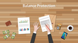 balance protection concept with business man work on paper document  chart and graph  top of wooden table