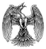 Phoenix Fire Bird in Vintage Woodcut Style