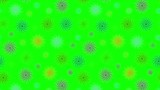 Abstract stylized snowflakes falling down on a green background, animation cyclic