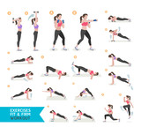 Woman workout fitness, aerobic and exercises. Vector Illustratio
