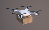 Drone carrying carton package.