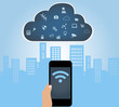 SmartPhone conected to the cloud with Internet of things apps
