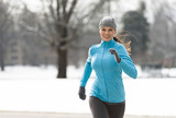 Woman Running in Winter - 123348728