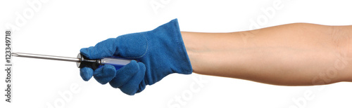 Gloved woman's hand with screwdriver on white