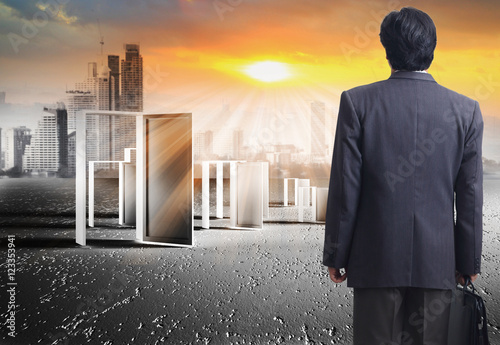 Poster opened doors and making decision of business man