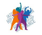 Silhouettes of expressive girls dancing modern dance styles. Jazz funk, hip-hop, house dance lettering. Detailed vector silhouettes. - 123357960