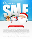 Merry christmas sale text with santa claus vector illustration e