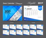 set Green Desk Calendar 2017 template design, cover Desk Calendar, business flyer template, blue cover