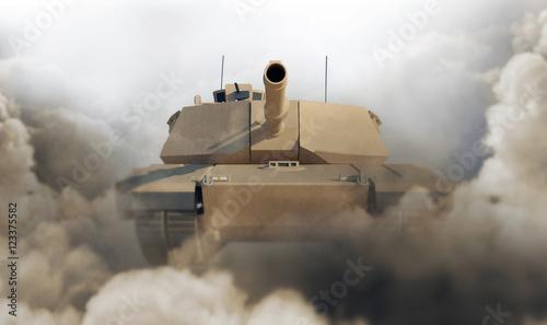 Ciężki czołg wojskowy na pustyni. Renderowanie 3D. (Skup się na czołgu)