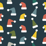 Seamless Christmas and New Year pattern of droll Santa hats