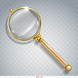 Magnifier for information search of gold with a transparent magnifying glass and transparent shadow in vector graphics
