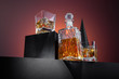 Composition of whisky in glass and bottle