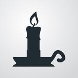 Icono plano candelero sobre fondo degradado