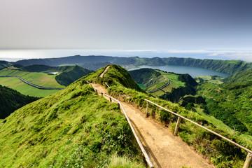 Açores ilha paradisíaca. vista panoramica para a Lagoa de Santiago e Lagoa das Sete Cidades.