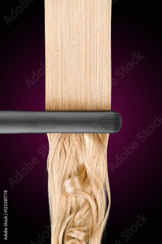 Blond hair with straightener before and after straightening Poster