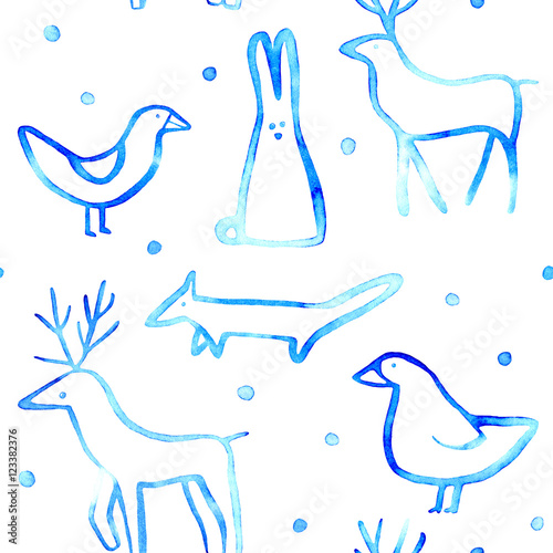 Materiał do szycia Seamless pattern with animal.Sketch.Fox,bird,hare and deer.Watercolor hand drawn illustration.White background.