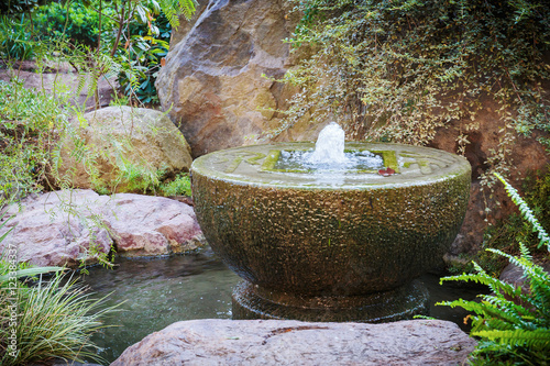 Fountain in Japanese garden in Monte Carlo