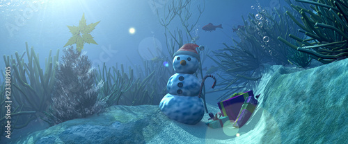 3d illustration seabed and Christmas items