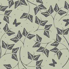 Stylish seamless pattern with plants and butterflies