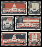 set of stamps with the image of the US Capitol in Washington, DC