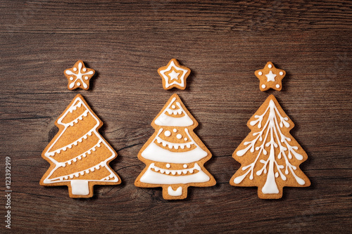 Poster Three Christmas Tree Cookies