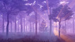Fairytale woodland scenery. Misty pine forest with sun light rays and thick fog at sunset. 3D illustration.