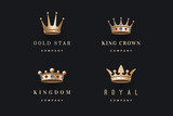 Set of royal gold crowns icons and logos. Isolated luxury logo for branding, label, game, hotel, graphic design. Collection logo crowns for royal persons, king, queen, princess. Vector Illustration