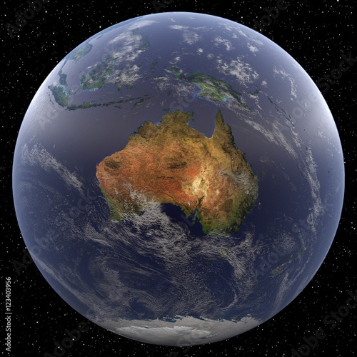 Plexiglas Earth focused on Australia viewed from space. Countries viewed include Australia and New Zealand