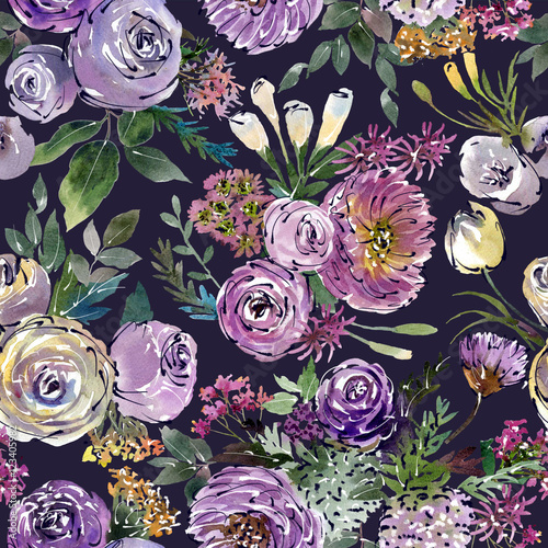 Drawing floral watercolor collage arranged in a pattern.Blue background - 123405982