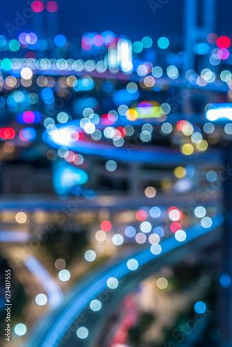 Foto op Aluminium Nacht snelweg night view of urban traffic with cityscape in Shanghai,China.