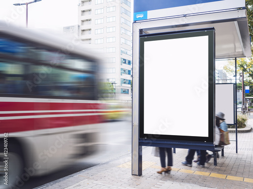 Mock up Billboard Banner template at Bus Shelter Media outdoor street Sign displ