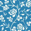 SEamless wallpaper with bloominhg roses. White flower silhouette on blue background. Floral pattern