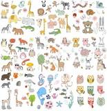 big set of wild, domestic, marine animals and owls. Hand drawn illustration.