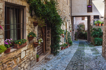 Fototapeta zakamarkach ulic pięknych włoskich miast w Umbrii.