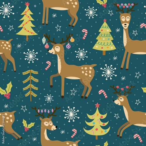 Materiał do szycia Christmas seamless pattern with cute deers