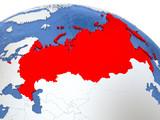 Russia on globe