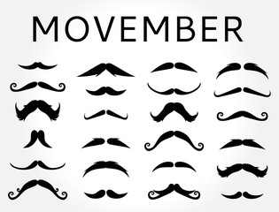 Movember mustache vector set.
