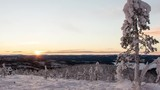 Sun moving horizontally in the horizon before the polar night begins (arctic winter time lapse)