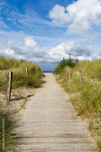 Leinwanddruck Bild Dünenweg zum Strand in Heiligenhafen, Schleswig-Holstein