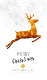 Fototapety Gold Christmas and new year deer low poly art