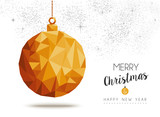 Fototapety Gold Christmas and new year ornament in low poly