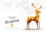 Gold Christmas and new year reindeer low poly art