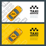 Set of vector taxi service banner, flyer, poster design template. Call taxi concept. Taxi yellow cab and outline cars isolated on white and yellow background. - 123474776